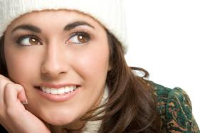 Beautiful Brunette Winter Clothes Smile Brown Eyes
